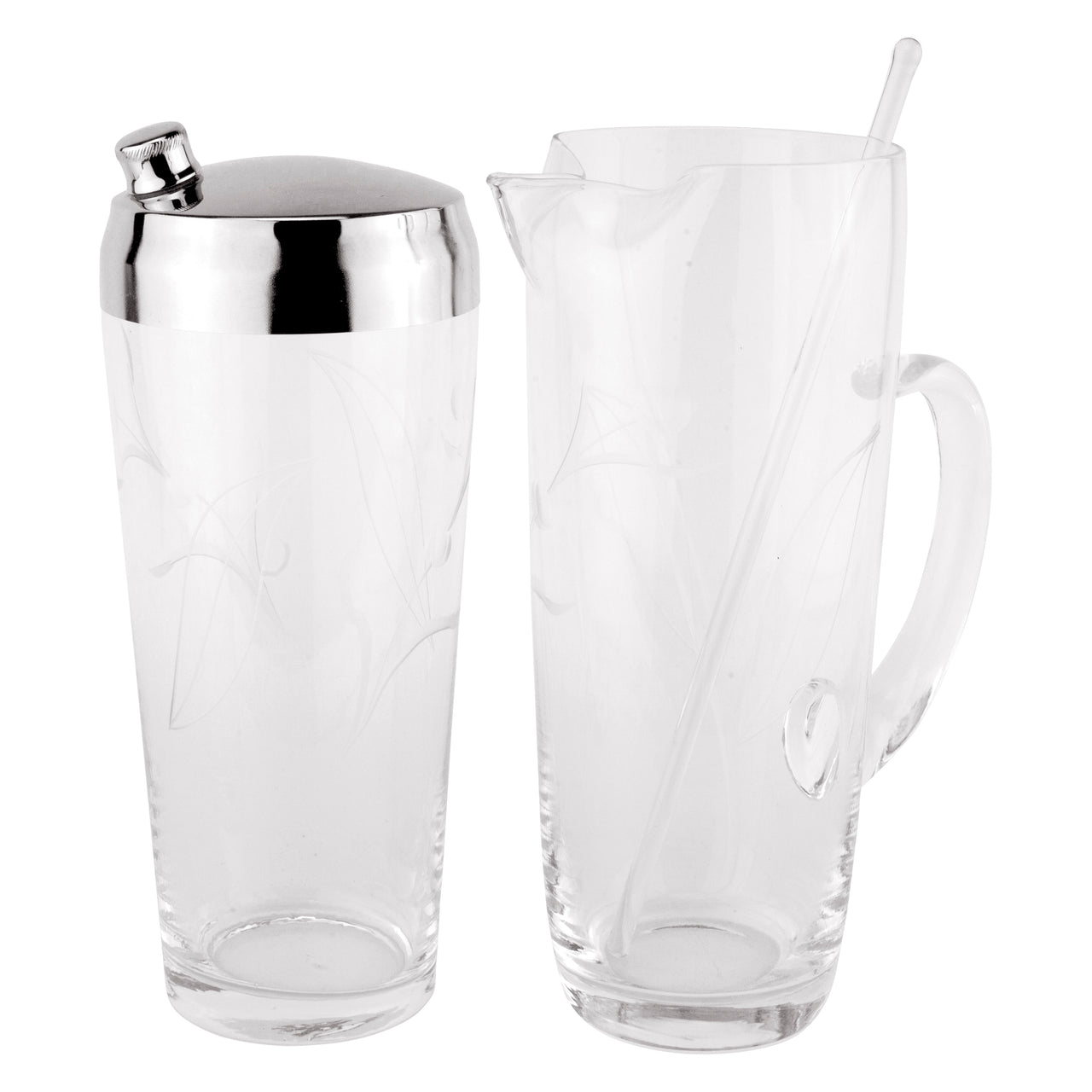 Etched Glass Cocktail Shaker & Pitcher Set