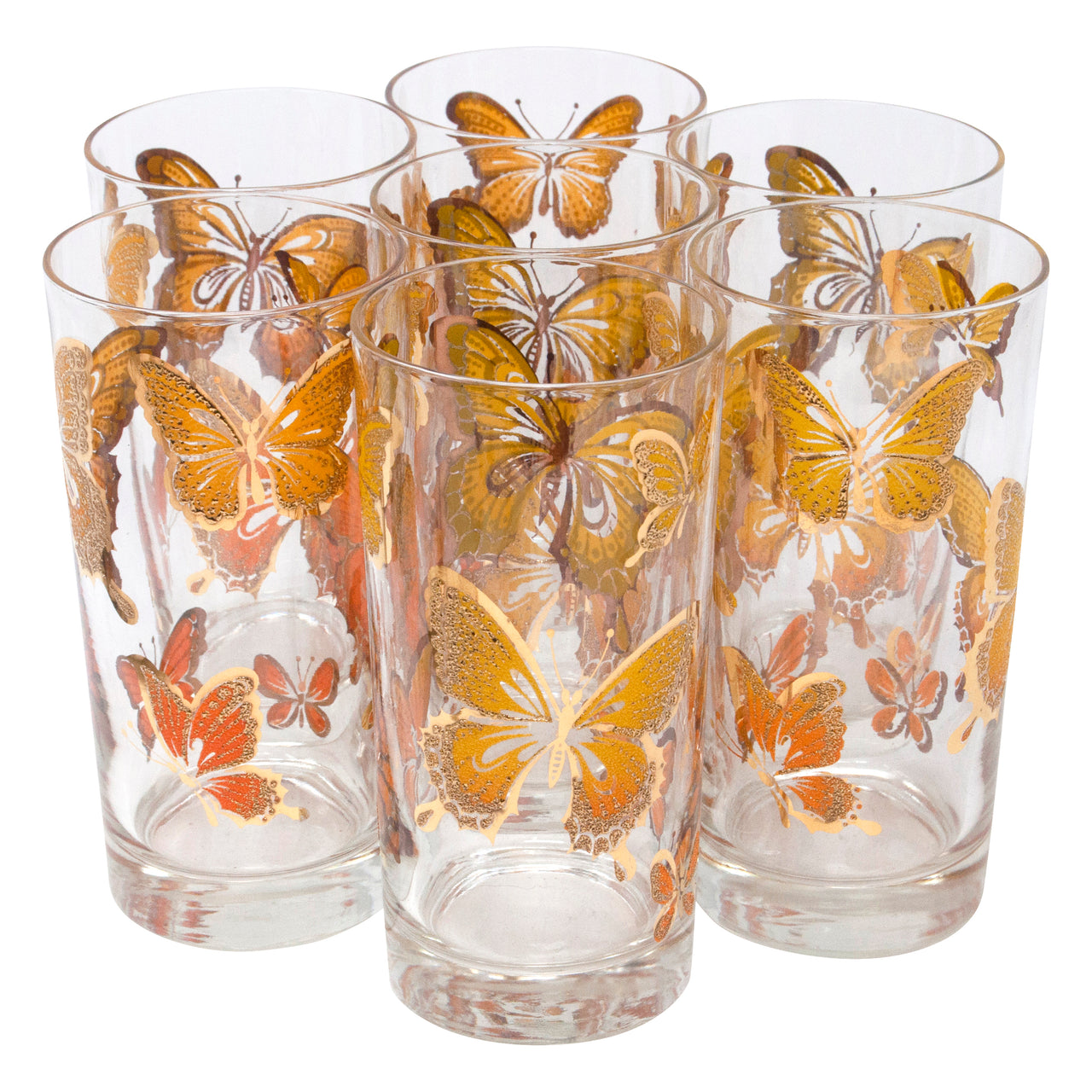 Vintage Gold Yellow and Orange Textured Butterfly Collins Glasses | The Hour Shop