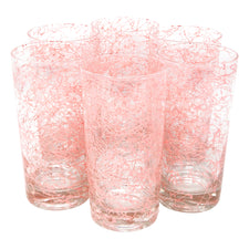 Vintage Pink Spaghetti String Collins Glasses | The Hour Shop