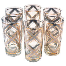 Georges Briard Silver & Gold Collins Glasses, The Hour Shop Vintage Cocktail Glasses