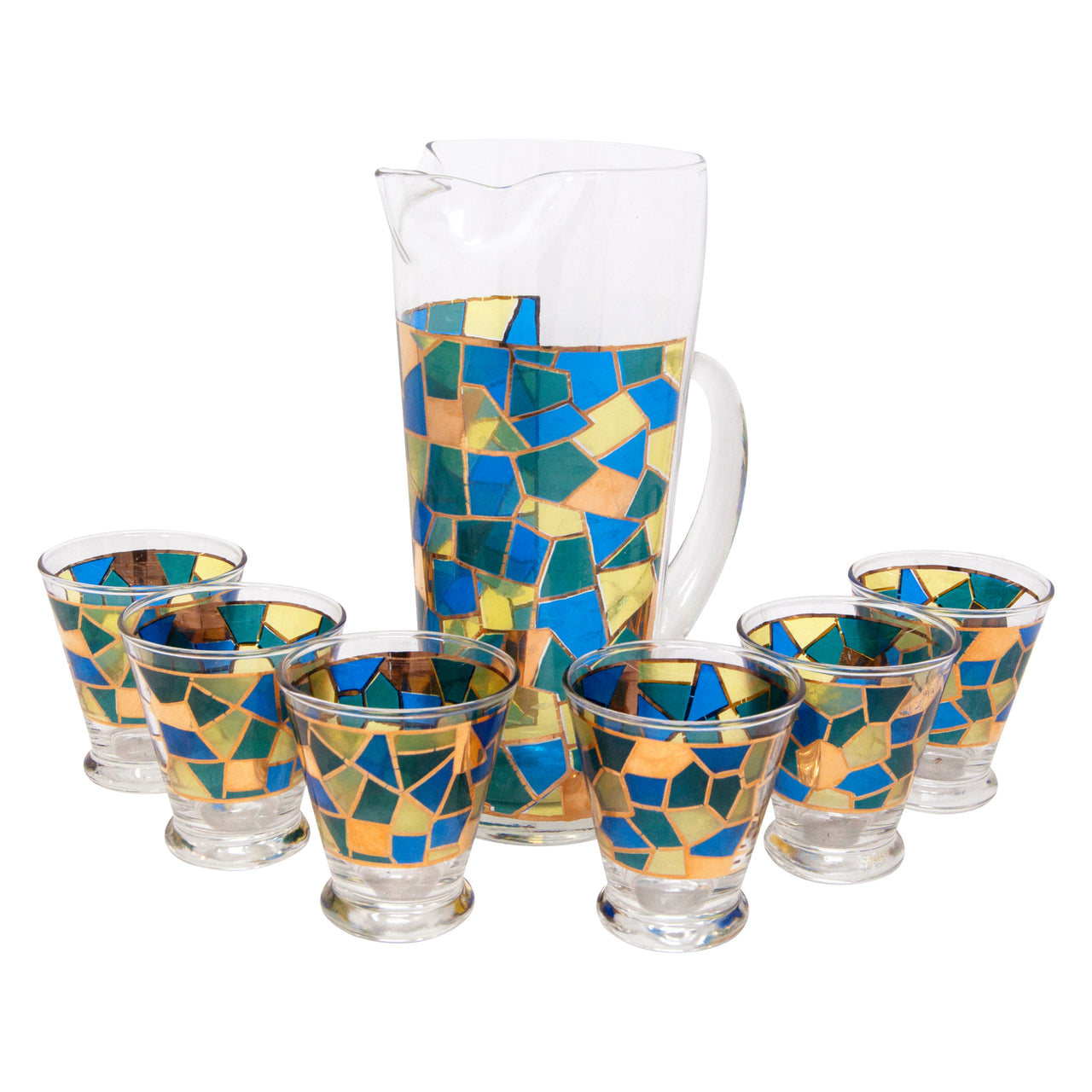 Vintage West Virginia Glass Mosaic Cocktail Pitcher Set | The Hour Shop