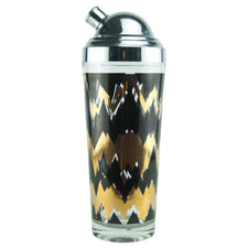 Black & Gold Zig-Zag Cocktail Shaker | The Hour Shop Vintage