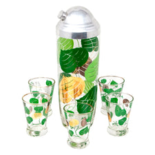 Vintage Gold & Green Leaf Cocktail Shaker Set | The Hour Shop