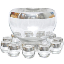 Dorothy Thorpe Sterling Rim Punch Bowl Set, The Hour Shop