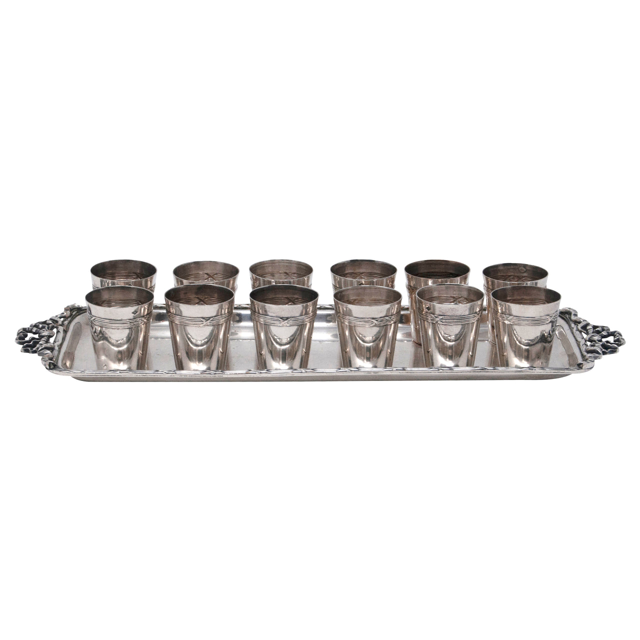 Vintage French Silver Plate Thimbles and Cocktail Tray Set | The Hour Shop