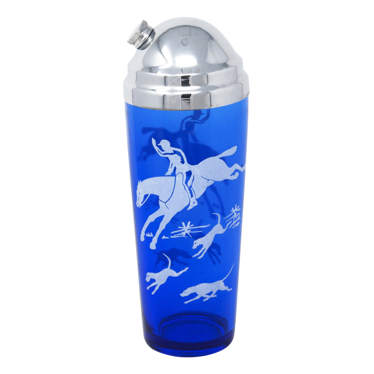 Vintage Hazel Atlas Cobalt Blue Fox Hunt Cocktail Shaker | The Hour Shop