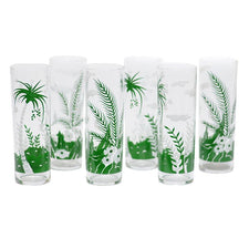 Libbey Green and White Tropical Zombie Glasses, The Hour Shop Vintage Cocktail Glasses