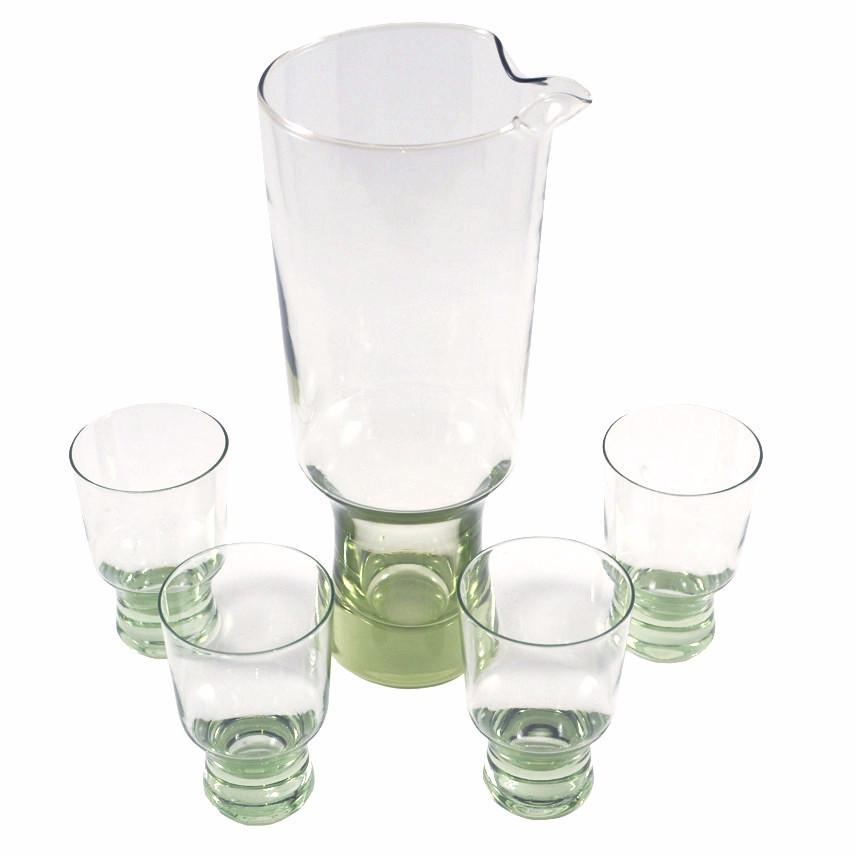 Vintage Green Footed Cocktail Pitcher Set, The Hour Shop