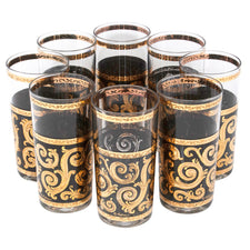 Vintage Culver Black and Gold Ebony Baroque Collins Glasses | The Hour Shop