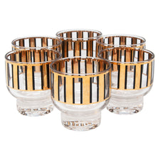 Vintage Culver Black and Gold Bars Footed Rock Glasses | The Hour Shop