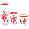 Vintage Noritake Frosted & Ruby Japanese Scene Cocktail Shaker Set Glasses Front | The Hour Shop