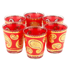 Culver Red Gold Paisley Shot Glasses
