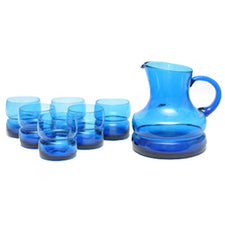 Blue Hand Blown Italian Pitcher Set, The Hour Shop Vintage Cocktail GlassVintage Blue Hand Blown Italian Cocktail Pitcher Set | The Hour Shopes Glassware Cocktail Pitcher