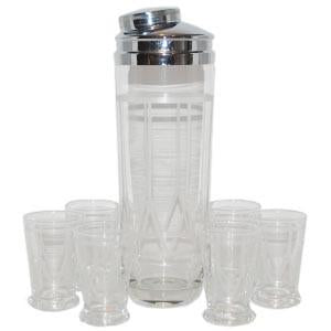 Vintage Etched Drum Cocktail Shaker Set, The Hour Shop