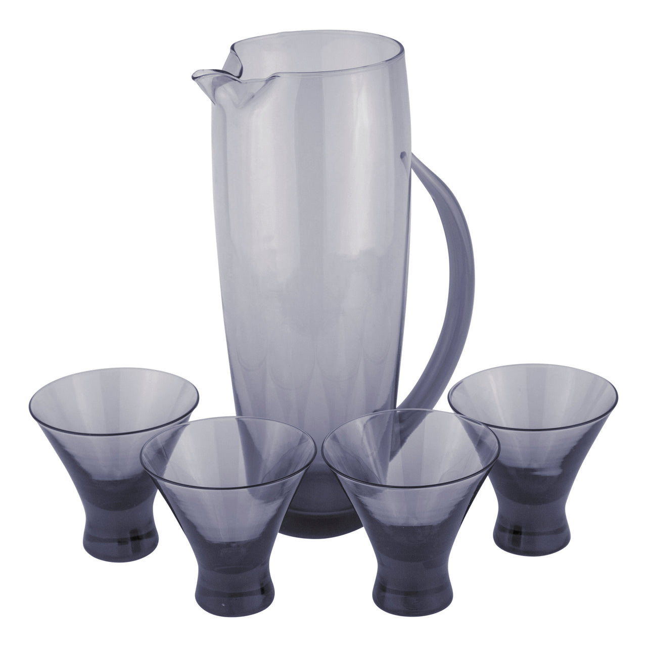 MCM Vintage Morgantown Smoke Glass Cocktail Pitcher Set