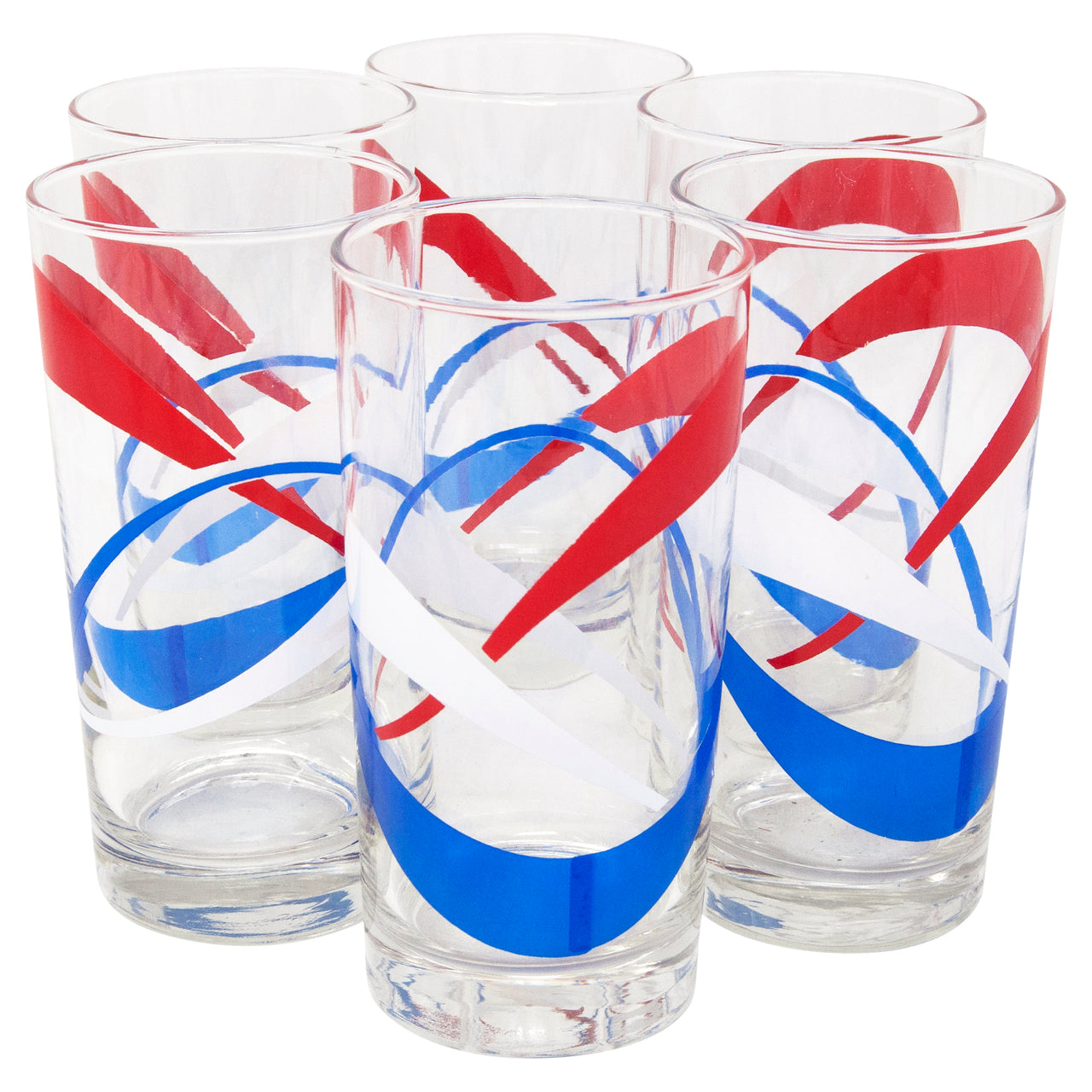 Vintage Red White & Blue Atomic Ribbon Collins Glasses | The Hour Shop