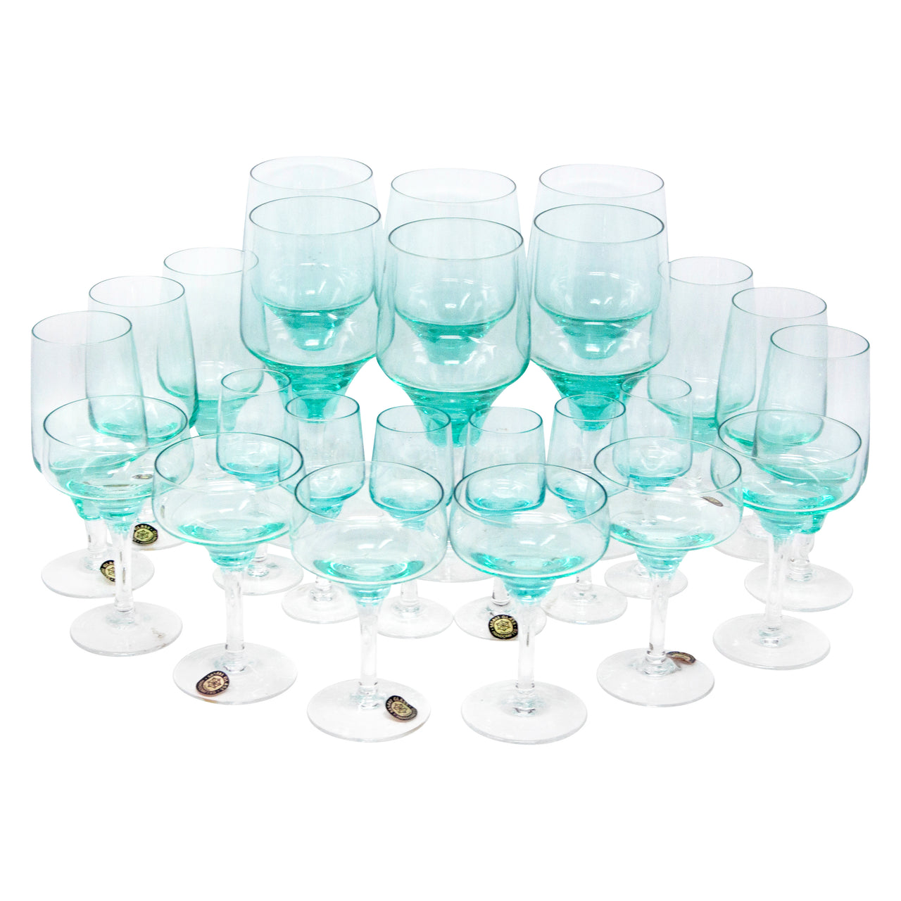 Vintage Sasaki Harmony Aqua Cocktail Stems Set | The Hour Shop