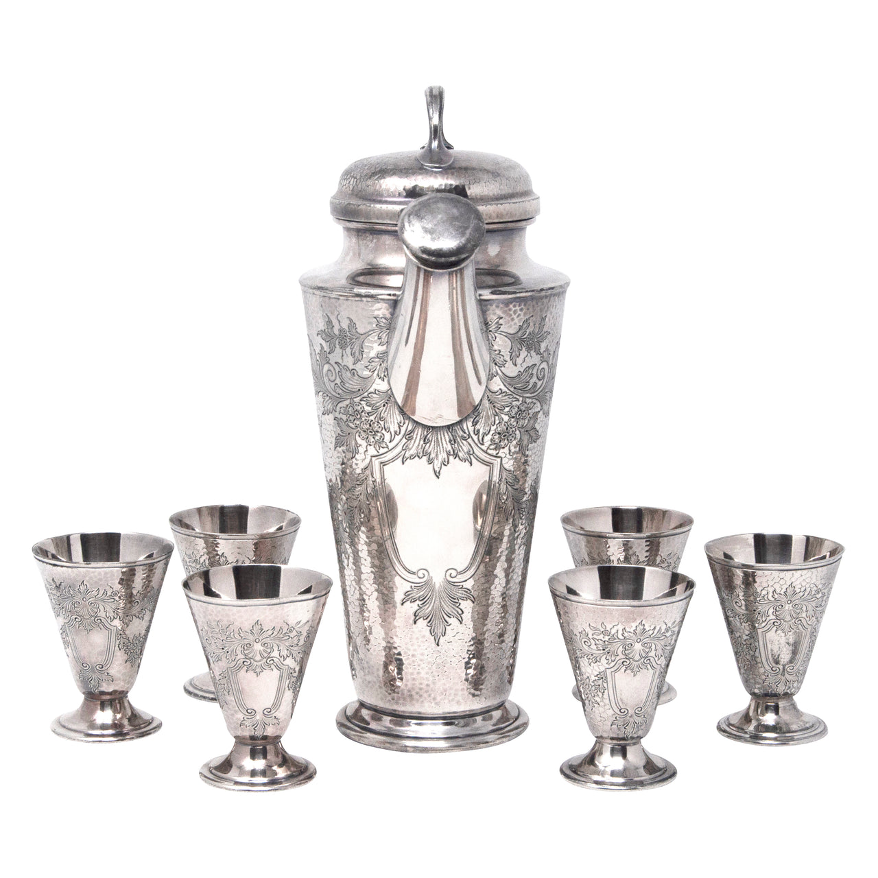 Vintage Reed & Barton Hammered Silver Plate Cocktail Shaker Set | The Hour Shop