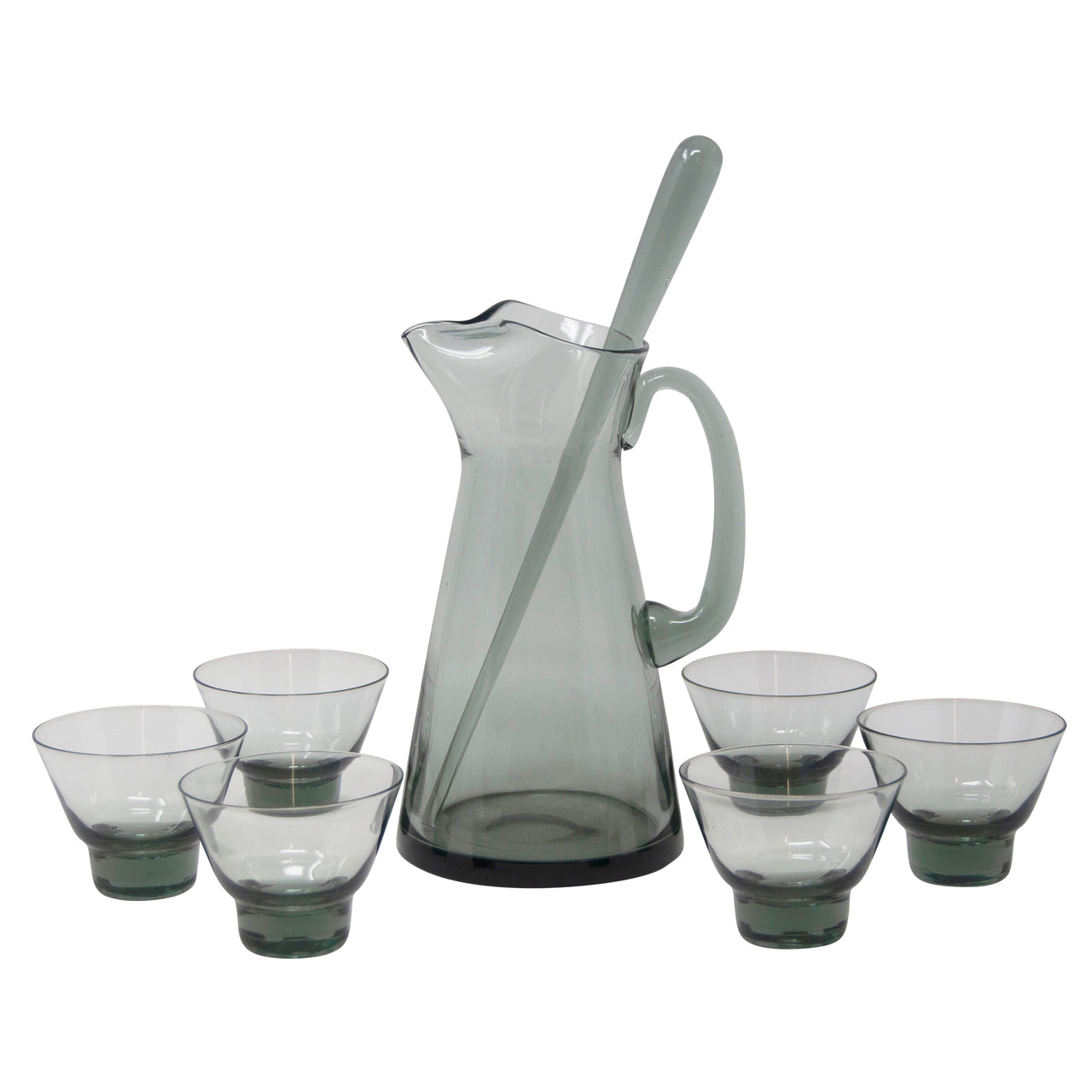 Vintage Danish Modern Hand Blown Smoke Glass Cocktail Pitcher Set | The Hour