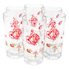 Vintage Red Roses & White Leaves Highball Glasses | The Hour Shop