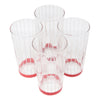Vintage White Pinstripe Red Band Tumbler Glasses | The Hour