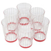 Vintage White Pinstripe Red Band Depression Glass Rocks | The Hour