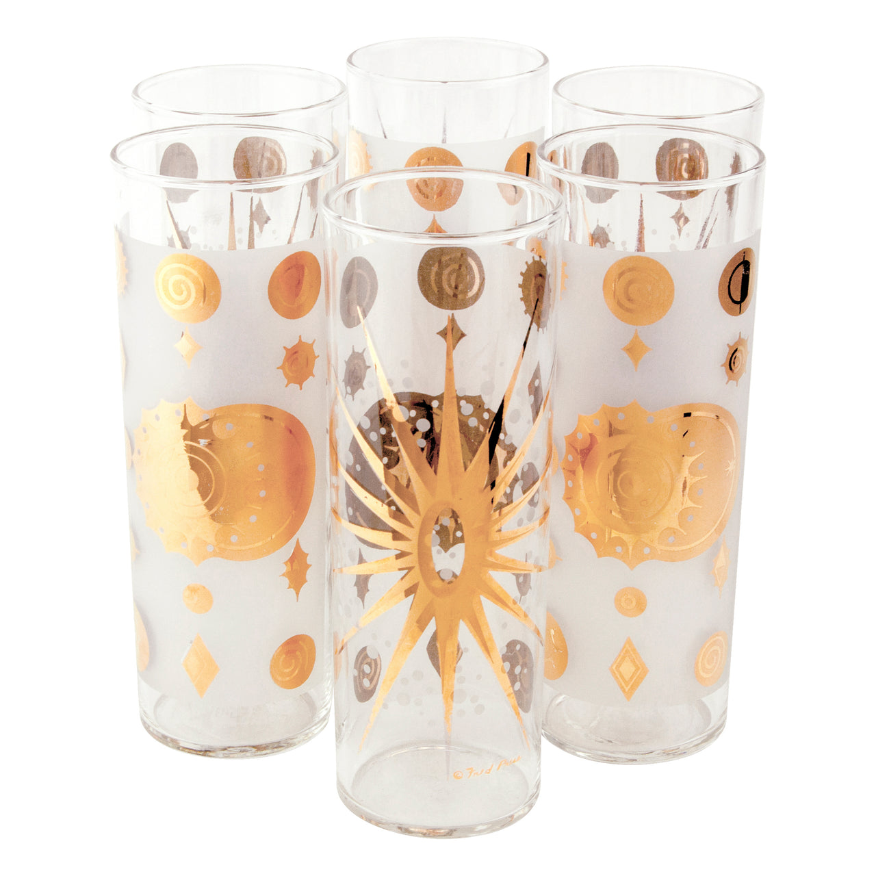 Vintage Fred Press White & Gold Sun Collins Glasses | The Hour Shop