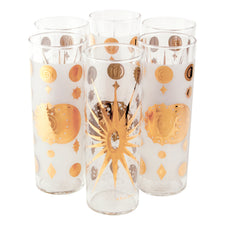 Vintage Gold & White Fred Press Celestial Collins Glasses