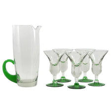 Green & Clear Cocktail Pitcher Set, The Hour Shop Vintage Cocktail Pitcher Set