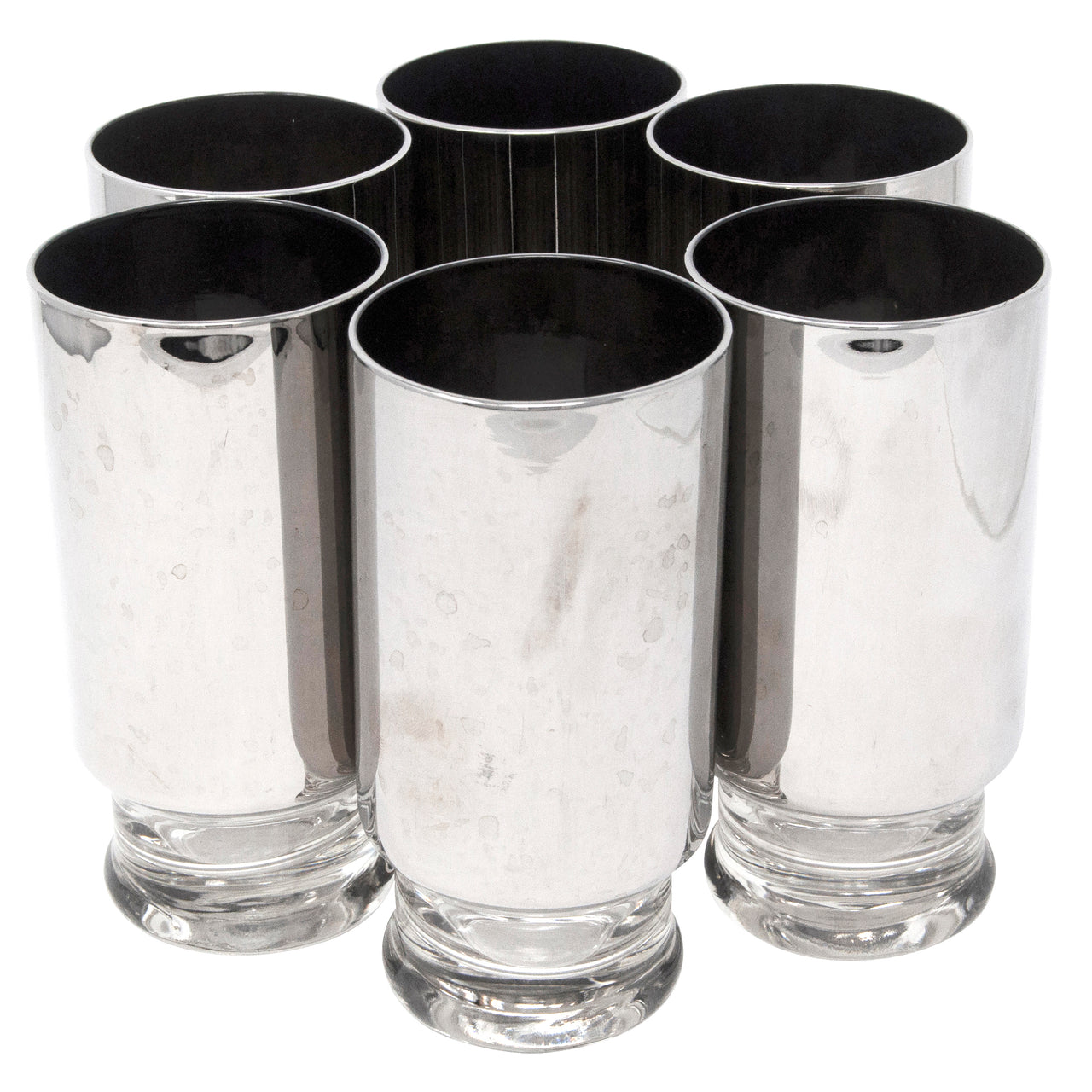 Mercury Coated Footed Collins Glasses | Set of 6