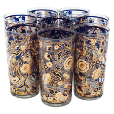 Vintage Culver Blue White and Gold Flower Collins Glasses | The Hour Shop