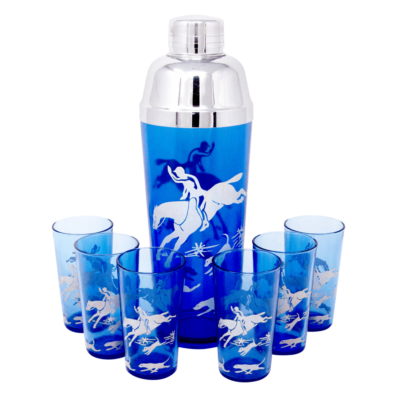 Vintage Hazel Atlas Cobalt Fox Hunt Scene Cocktail Shaker Set | The Hour Shop