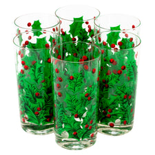 Georges Briard Red & Green Holly Collins Glasses