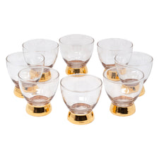 Vintage Gold Base Double Old Fashioned Glasses | The Hour Shop