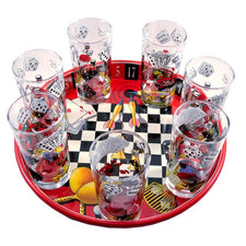 Vintage Game Night Theme Collins Glass Metal Tray Set | The Hour Shop