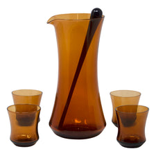 Vintage Brown Amber Cocktail Pitcher Set | The Hour