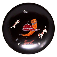 Vintage Couroc Black Resin Large Fox Hunt Bowl | The Hour