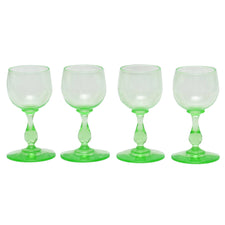 Green Vaseline Glass Vintage Cordial Glasses, The Hour Shop