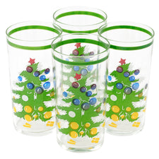 Green Band Vintage Christmas Tree Collins Glasses