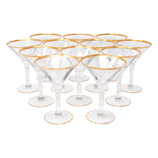 Vintage Gold Rim Martini Cocktail Glasses | The Hour Shop