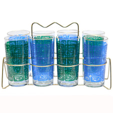 Green & Blue Maze Collins Glass Caddy | The Hour Shop Vintage
