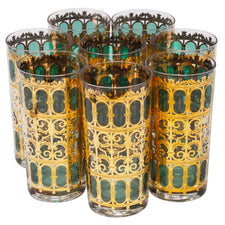 Culver Green Azure Scroll Collins Glasses