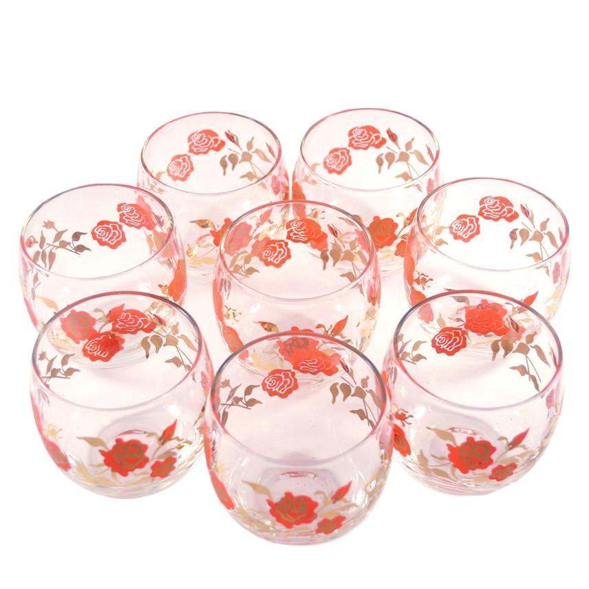 Red & Gold Roses Roly Poly Glasses | Retro Vintage Glassware