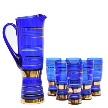 Vintage Bohemian Bold Band Cobalt Glass Pitcher Set, The Hour