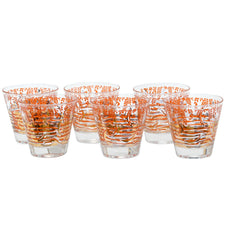 Vintage Fred Press Orange Dolphin Double Old Fashioned Glasses | The Hour Shop