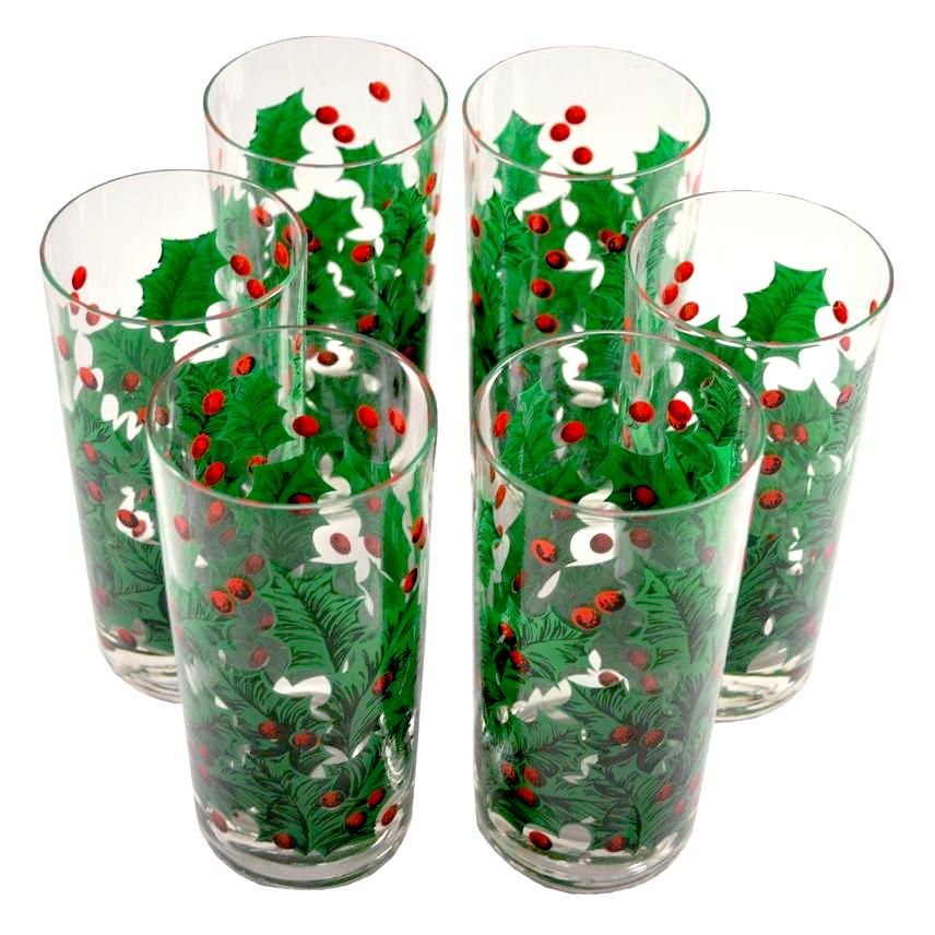 G. Briard Holly Collins Glasses | The Hour Vintage Christmas