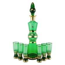 Vintage Green & Gold Bohemian Decanter Set | The Hour