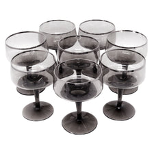 Vintage Silver Rim Smoke Glass Coupes | The Hour Shop