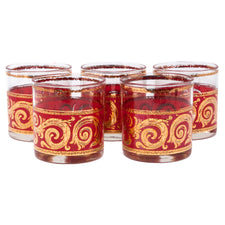 Culver Red & Gold Scroll Rocks Glasses