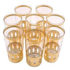 Vintage Culver Antigua Gold Collins Glasses | The Hour Shop